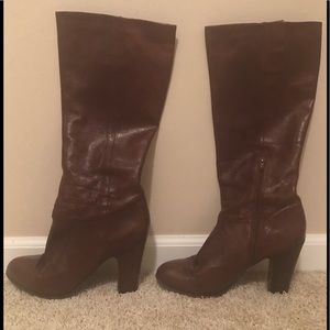 Women's SZ 9.5 Nine West Tall Brown Leather Boots